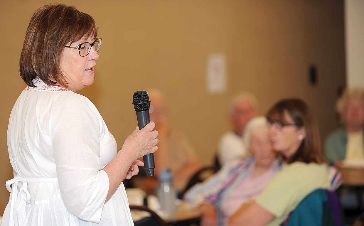 City Manager Deb Hinsvark presents her vision of the future of the city of Steamboat Springs to seniors Monday at the Steamboat Springs Community Center as part of the Routt County Council on Aging program.