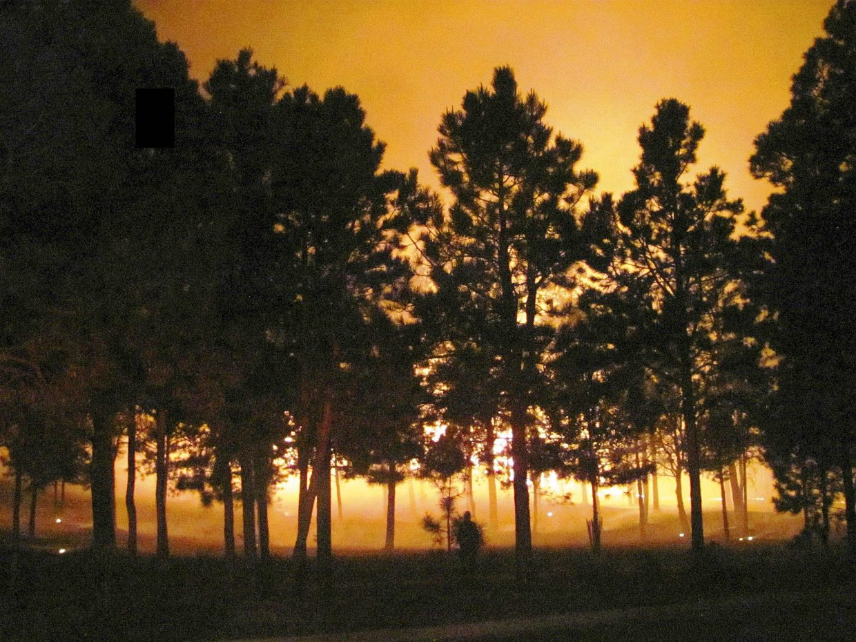 This was the scene the first night four Routt County firefighters arrived to help fight the Black Forest Fire in Colorado Springs.