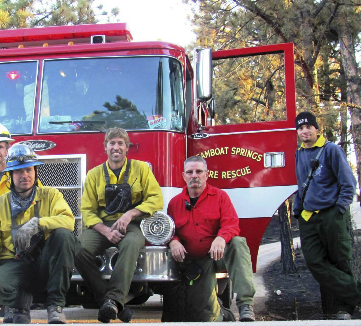 Routt County firefighters, from left, Linas Vaitkus, Leighton White, Chuck Wisecup and Tony DeRisio returned this week after five days fighting the Black Forest Fire in Colorado Springs.