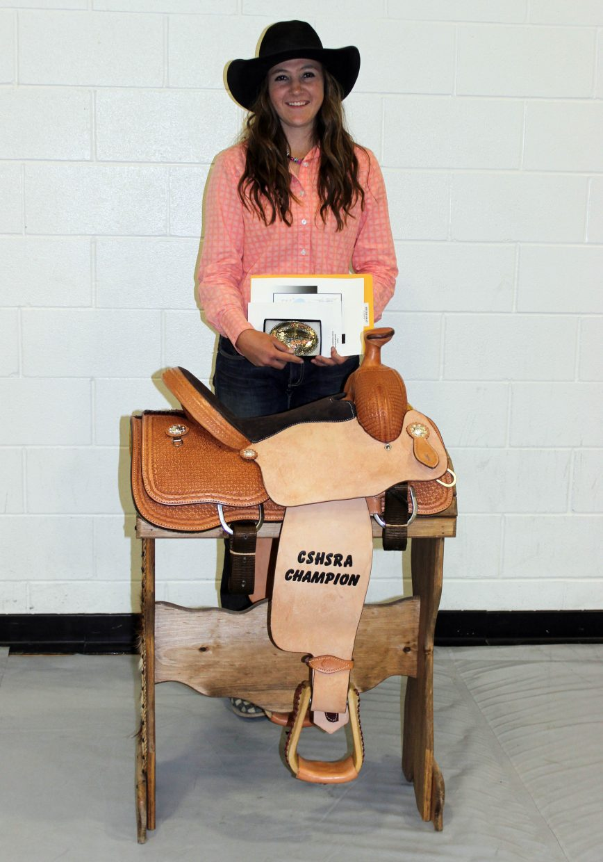 Jacey Schlegel won three belt buckles and a saddle earlier this month when she emerged as the breakaway roping champion at the Colorado High School state finals rodeo.