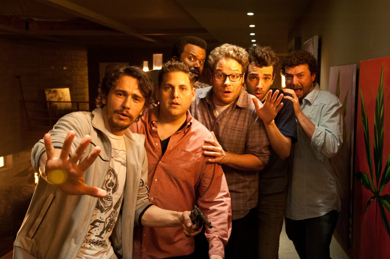 """James Franco, from left, Jonah Hill, Craig Robinson, Seth Rogen, Jay Baruchel and Danny McBride star in Columbia Pictures' """"This Is the End."""""""