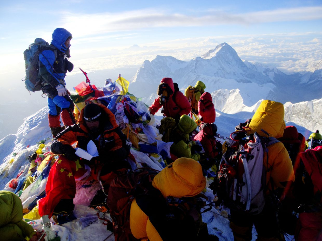 Climbers gather on the summit of Mount Everest in May.