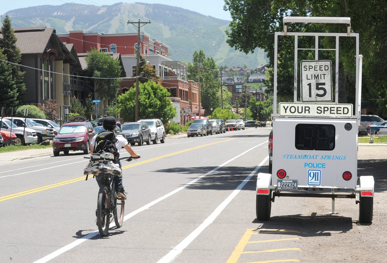 The city of Steamboat Springs placed a machine on Yampa Street on Thursday to let motorists know the speed limit has been changed to 15 mph. The reduced speed limit is part of an effort to make it safer for pedestrians and cyclists who use the route.