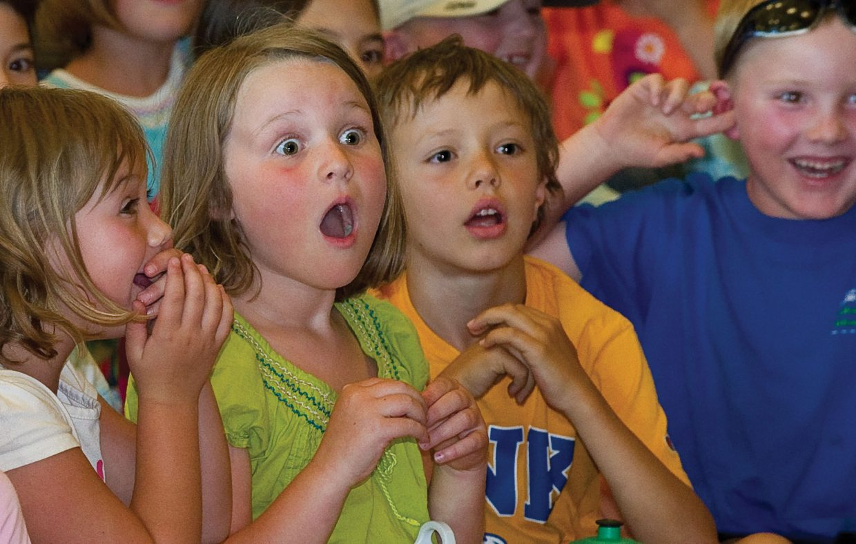 Liv Mason reacts after magician Ann Lincoln turns a balloon into a rabbit during her magic, juggling and comedy show in Library Hall at the Bud Werner Memorial Library Wednesday afternoon. The show was free and is part of the Youth Services Department's One World, Many Stories summer reading program.