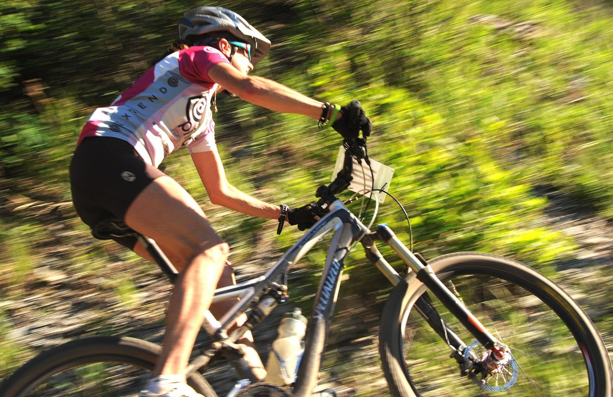 Kate Rench burns around a corner Wednesday during a Town Challenge race at Marabou.