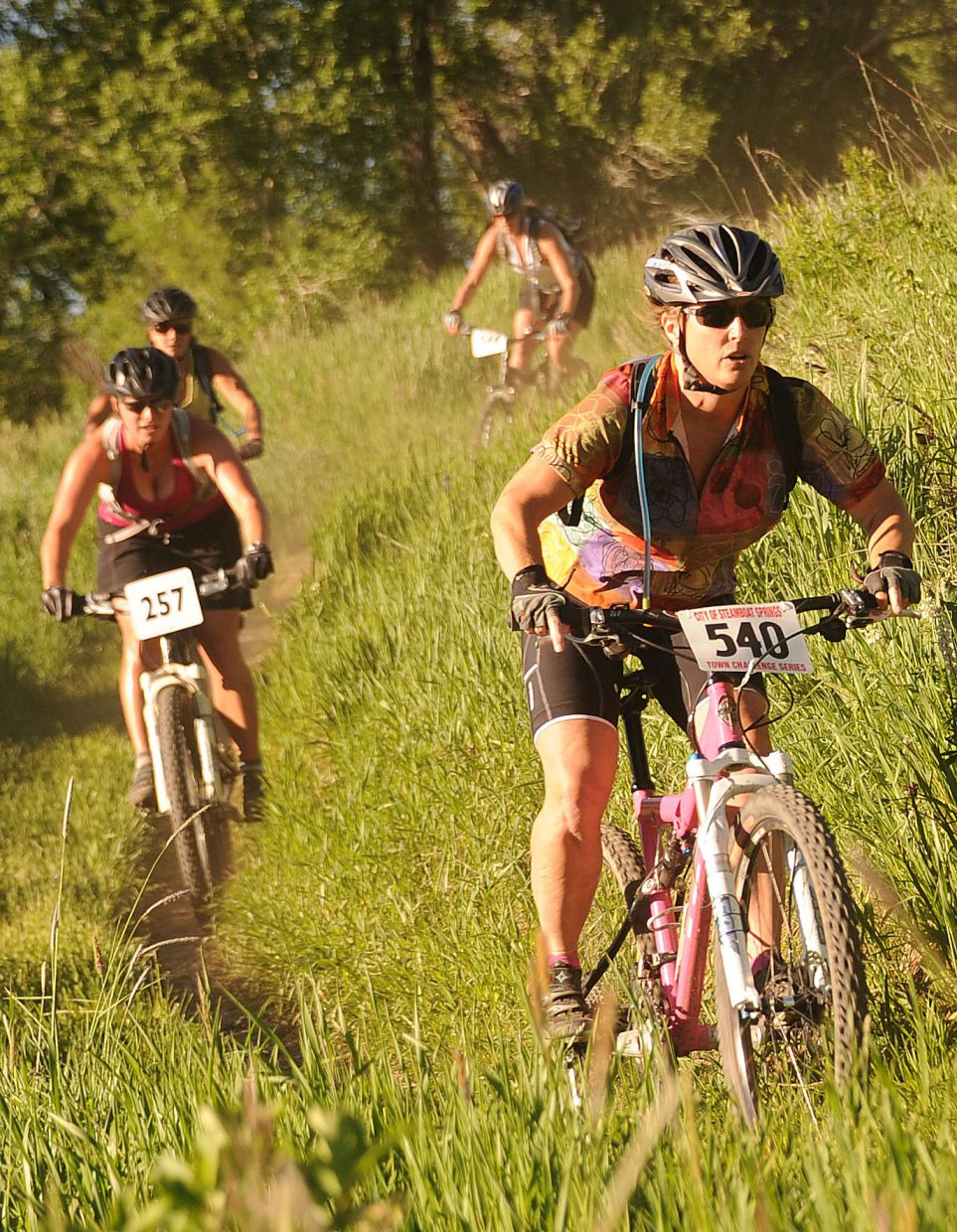 Mary Ann Keiss leads a pack of riders Wednesday during a Town Challenge race at Marabou.