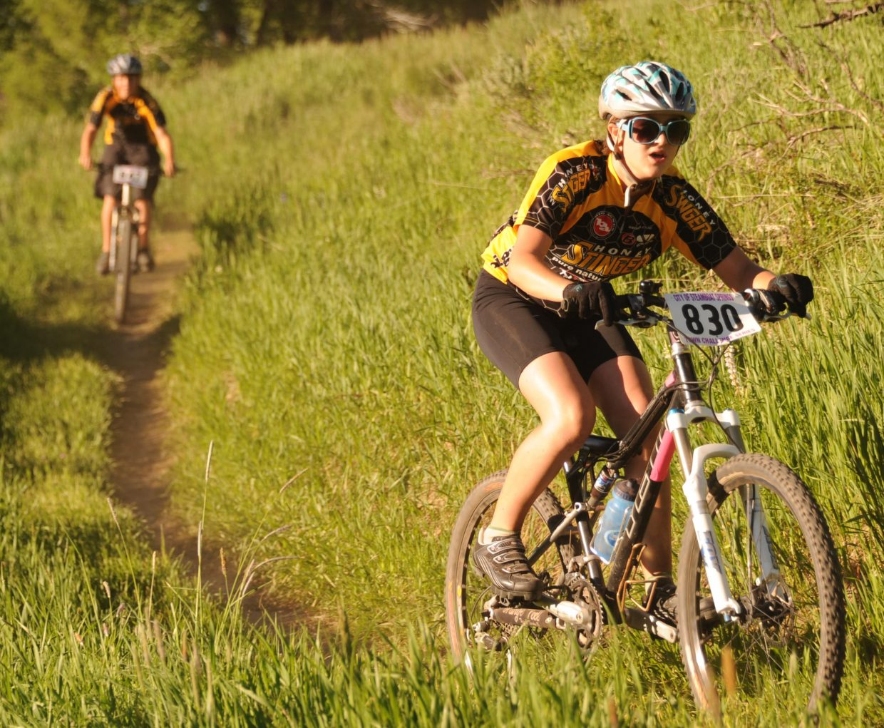 Rachael Green leads a pack of riders Wednesday during a Town Challenge race at Marabou.