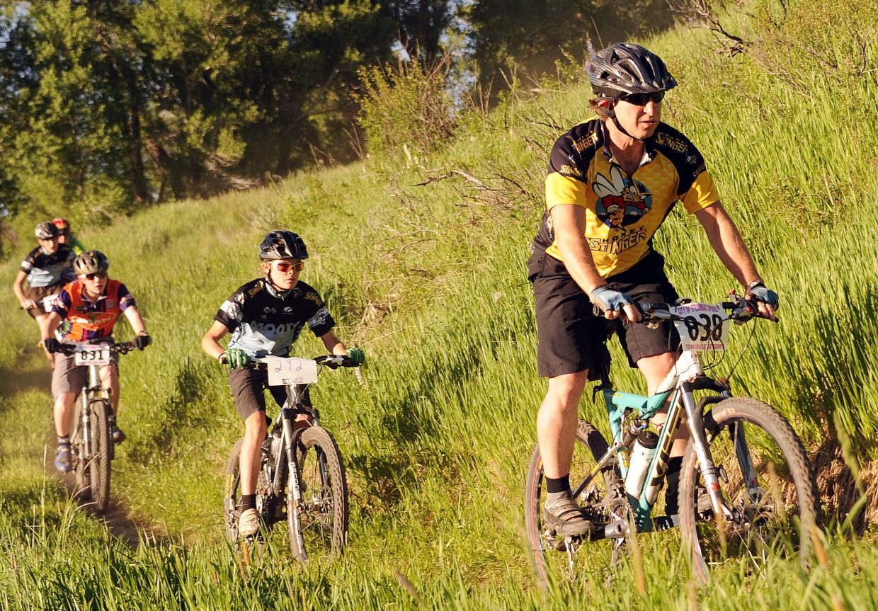 Neil Ganz leads a pack of riders Wednesday during a Town Challenge race at Marabou.