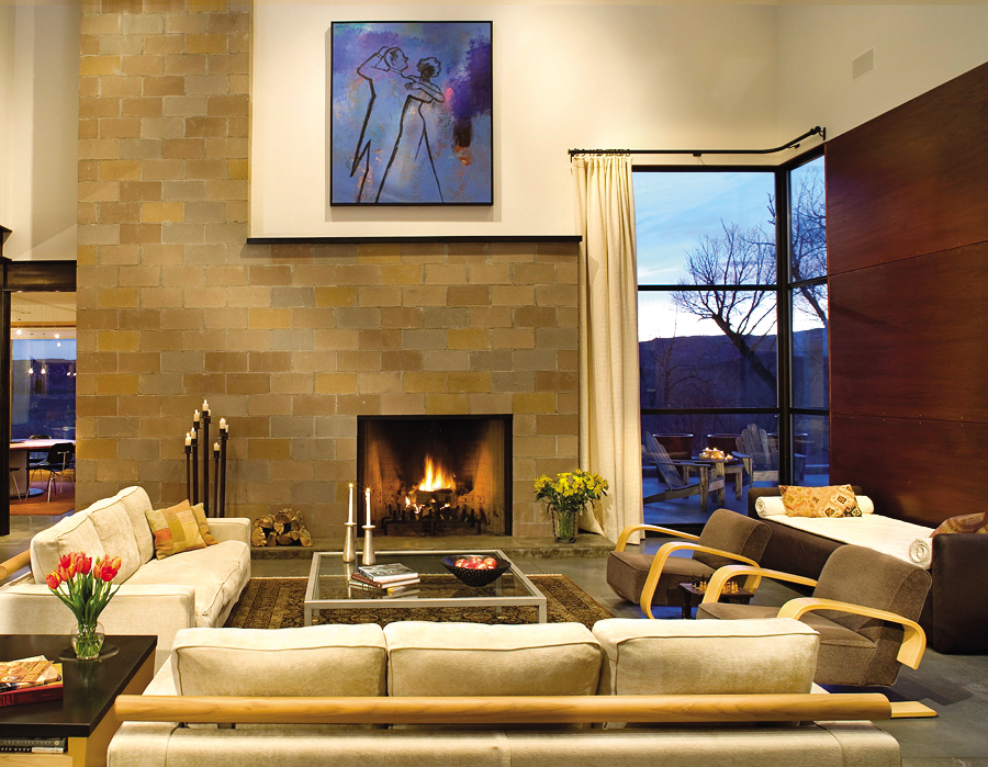 """Steamboat Springs architect Katherine Kiefer, owner of West Elevation Architects, designed this home near Steamboat to highlight the owners' art collection. This piece, """"Dancers"""" by James Strombotne, is one of the clients' favorites."""