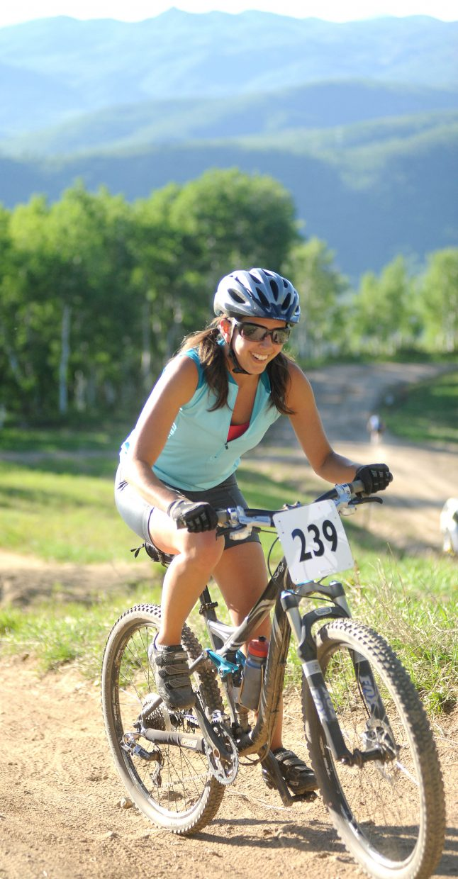 Kyleigh Demicco rides up one of the last steep sections on the Town Challenge course on Wednesday at Steamboat Ski Area.