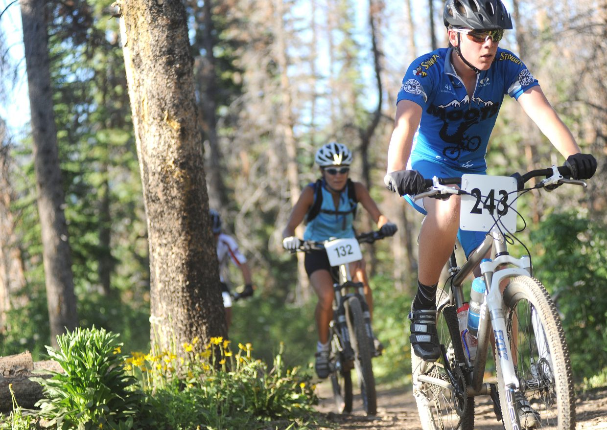 Dane Dixson leads a pack of riders Wednesday during the Town Challenge race.