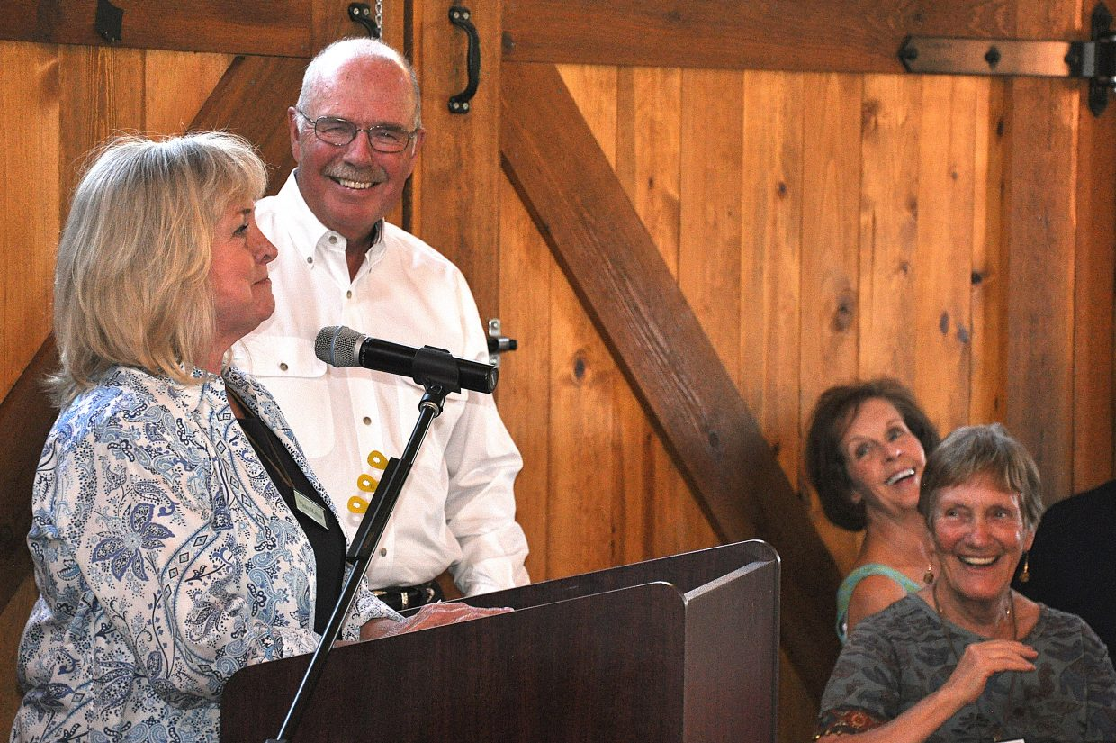 Vicky and Rod Hanna accept the individual Philanthropists of the Year award from the Yampa Valley Community Foundation. The Hannas long have been a part of area nonprofits and volunteer efforts.