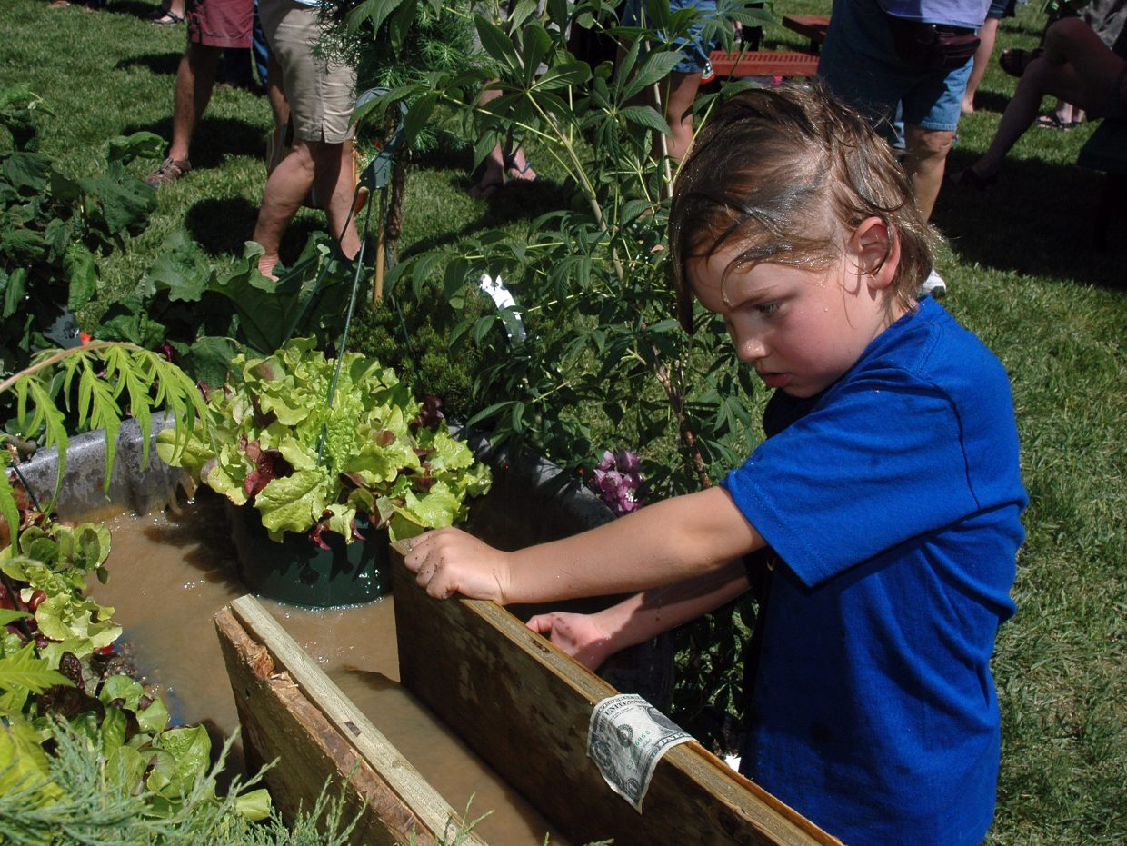 David Lewis, 7, spent a lot of his time at the Taste of South Routt Festival at the booth for the South Routt Nursery where children could sift through muddy water to find hidden gems. David found a successful system that involved holding his head under the running water.