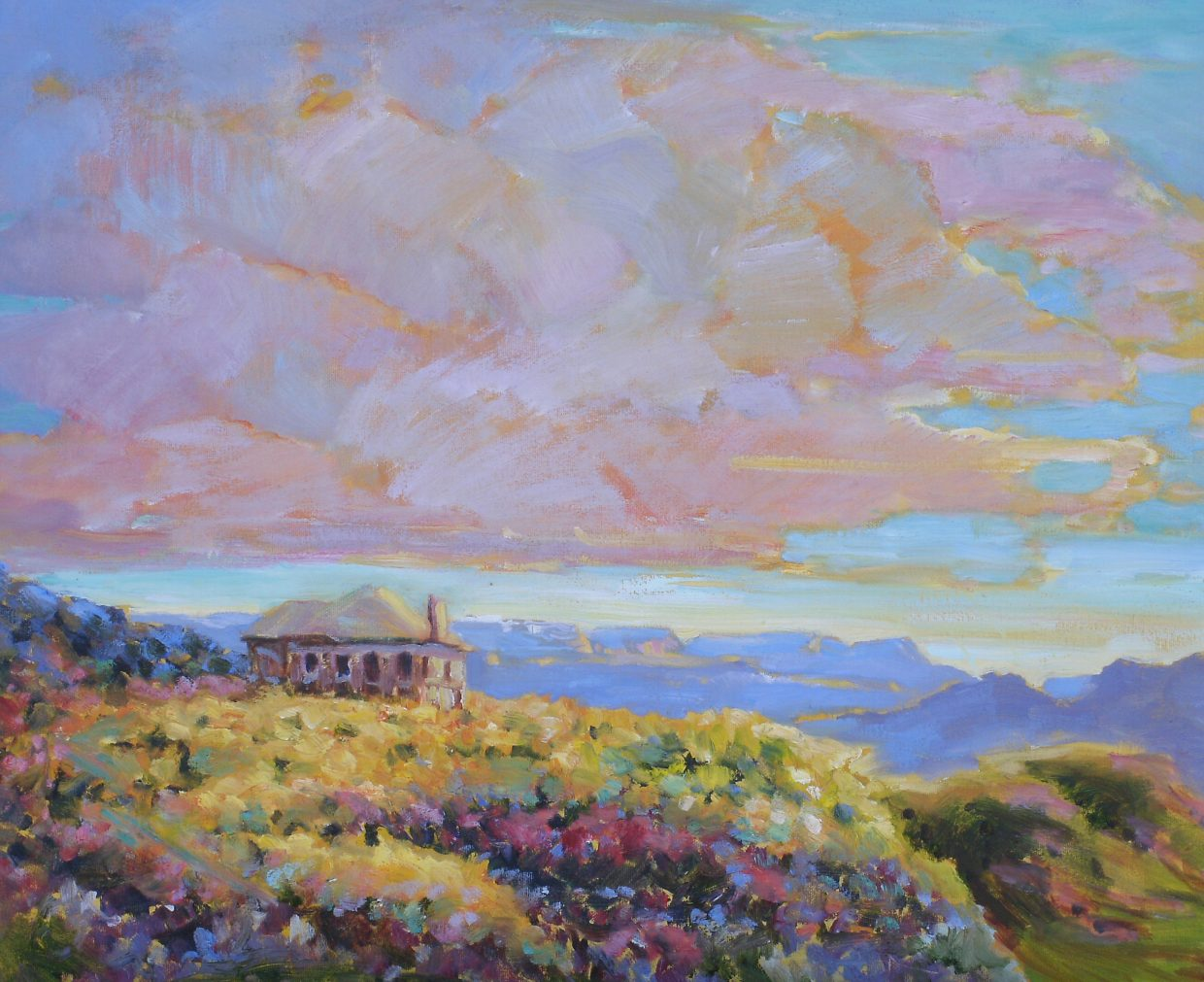 This painting by Joan Hoffman of the Elkhead Schoolhouse will be auctioned off during next week's Hayden Heritage Weekend.