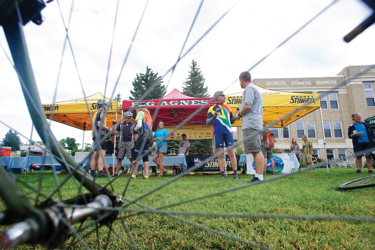Cyclists enjoy breakfast Wednesday morning on the Routt County Courthouse lawn during the Bike to Work Day breakfast. The event is part of Bike to Work Week and was supported by Routt County Riders and Honey Stinger.