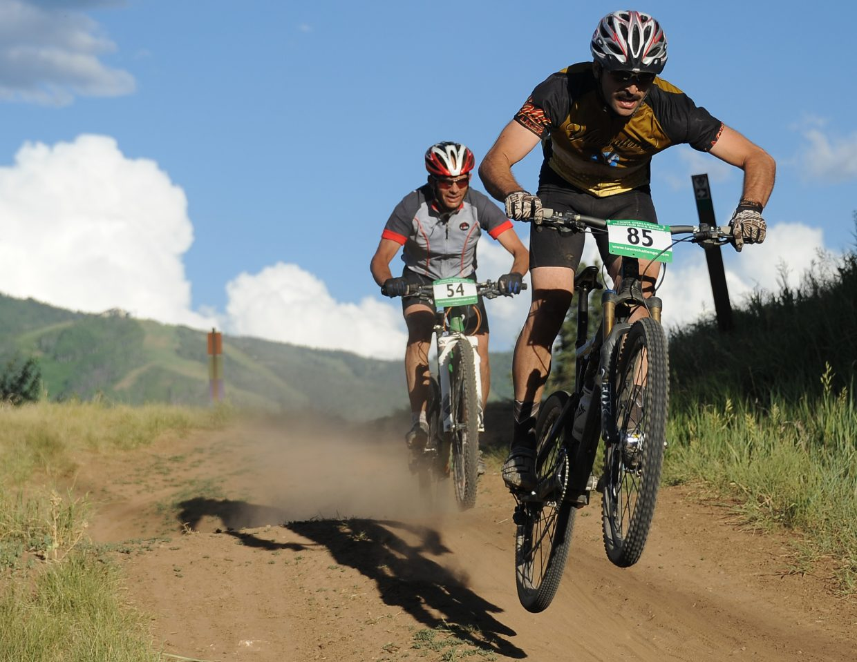 DJ Nudy rides Wednesday in the Town Challenge race in Steamboat Springs.