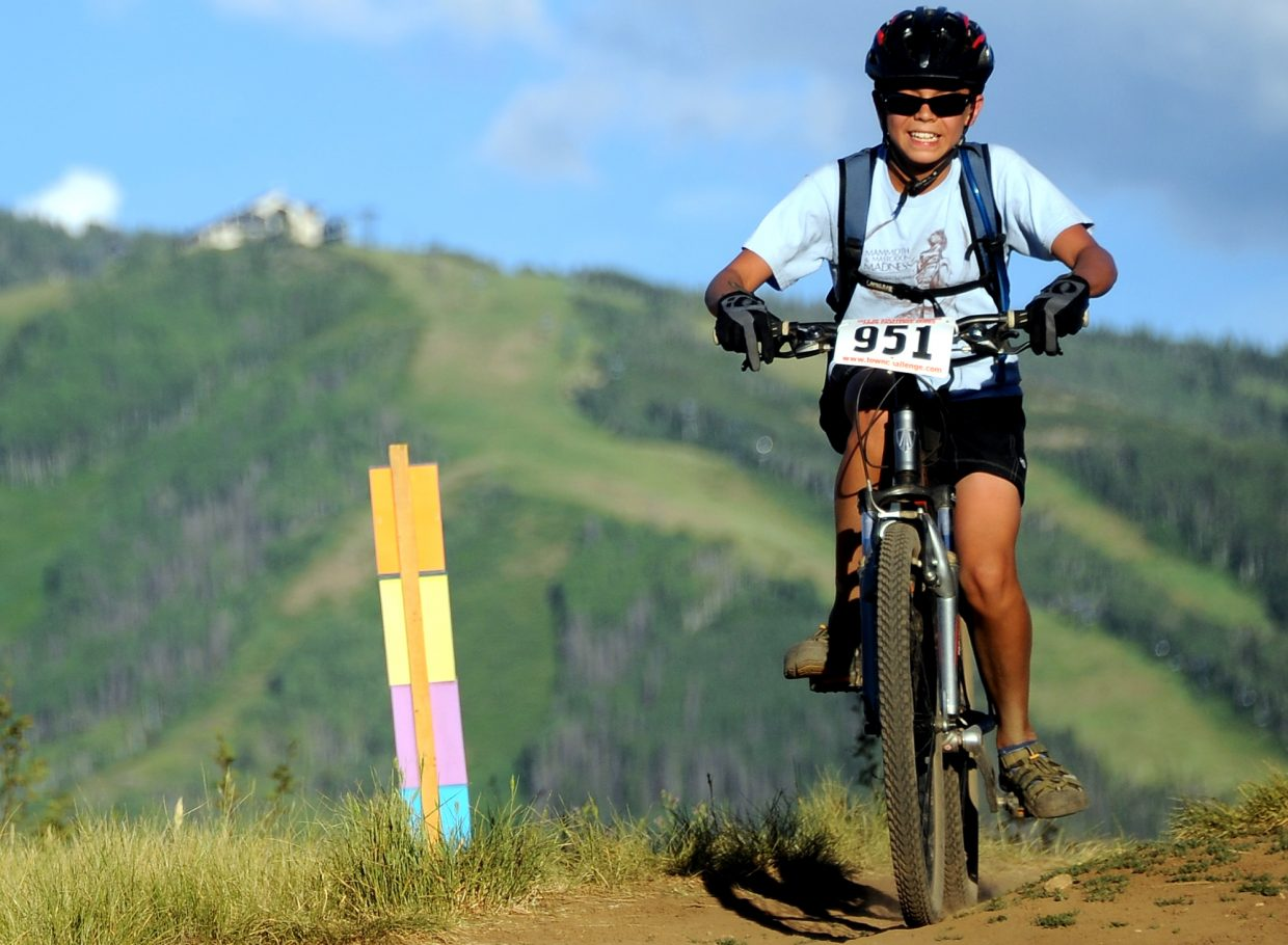 Tristan Fischer rides Wednesday in the Town Challenge race in Steamboat Springs.