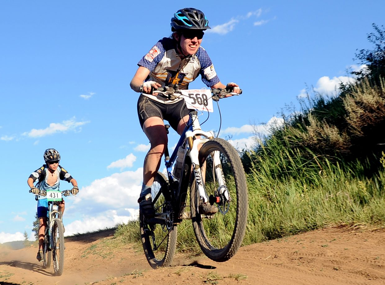 Becky Sears rides Wednesday in the Town Challenge race in Steamboat Springs.