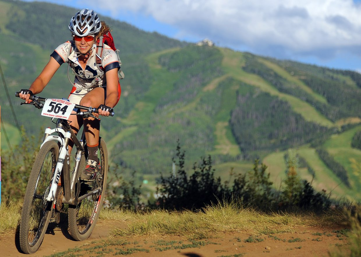 Terra James rides Wednesday in the Town Challenge race in Steamboat Springs.