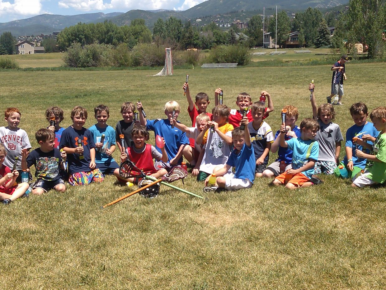 The Little Laxers program, an introduction to lacrosse for 7- and 8-year-olds put on by Steamboat Youth Lacrosse, finished Friday with a water balloon fight and a pizza party. The program, which was run by Jake and Andy Flax, featured two-hour sessions for five days. Submitted by: Toria Kuntz.