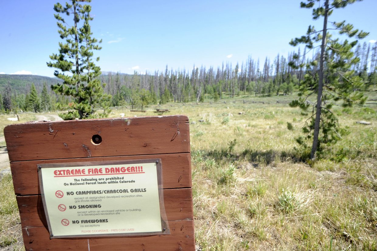 A sign at the Hinman Campground alerts campers to the fire restrictions in 2017. As conditions dry, Routt County Emergency Management is giving weekly updates on fire restrictions in Northwest Colorado.