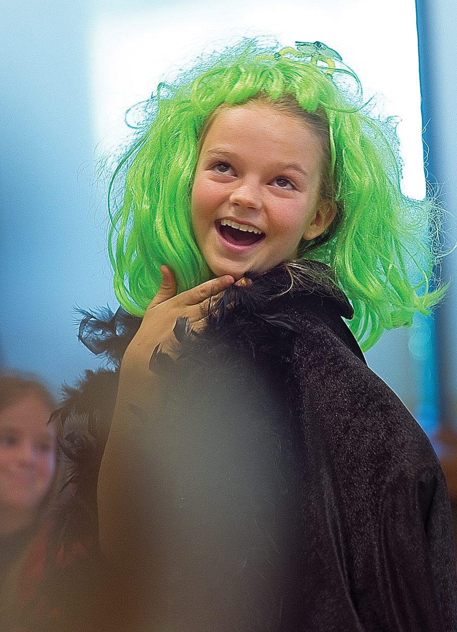 Young actor Maya Kissane plays the role of the Leprechaun Queen in The Rainbow Connection Friday morning in Library Hall at the Bud Werner Memorial Library. The play was written by Emily Stout for the Children's Theater Workshop.
