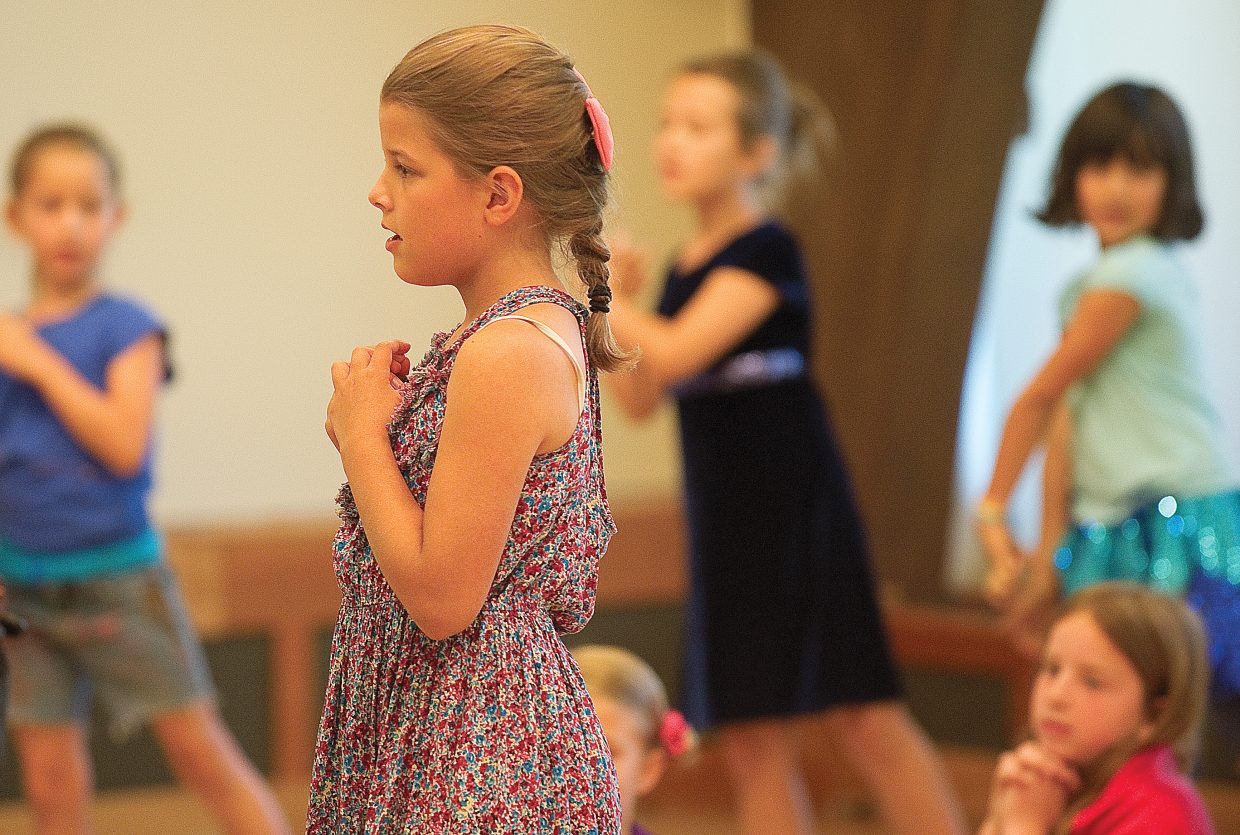 """Young actor Claire Bohmer plays the role of Rosie in """"The Rainbow Connection"""" on Friday morning in Library Hall at Bud Werner Memorial Library."""