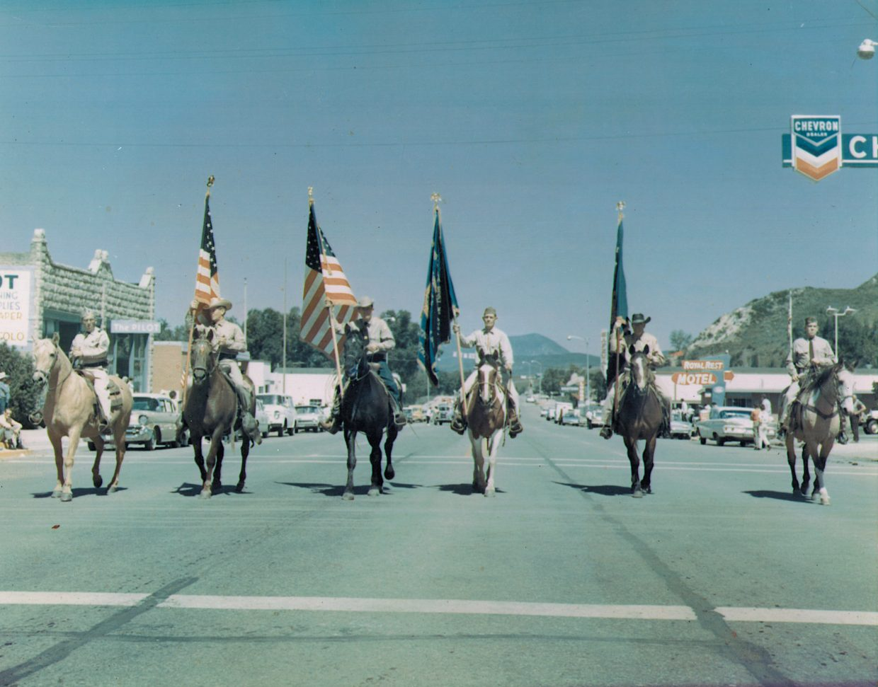 Lowell Thropp, from left, Henry Dorr, Don Lutkin, Caldus Klumker, Lewis Kemry and Charles Auter, of the Steamboat Springs post of the American Legion, present the color guard in the 1965 Fourth of July parade.