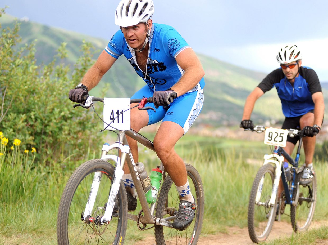 Ben Clark holds a small lead on Scott Myller on Wednesday during the Town Challenge race in Steamboat Springs.