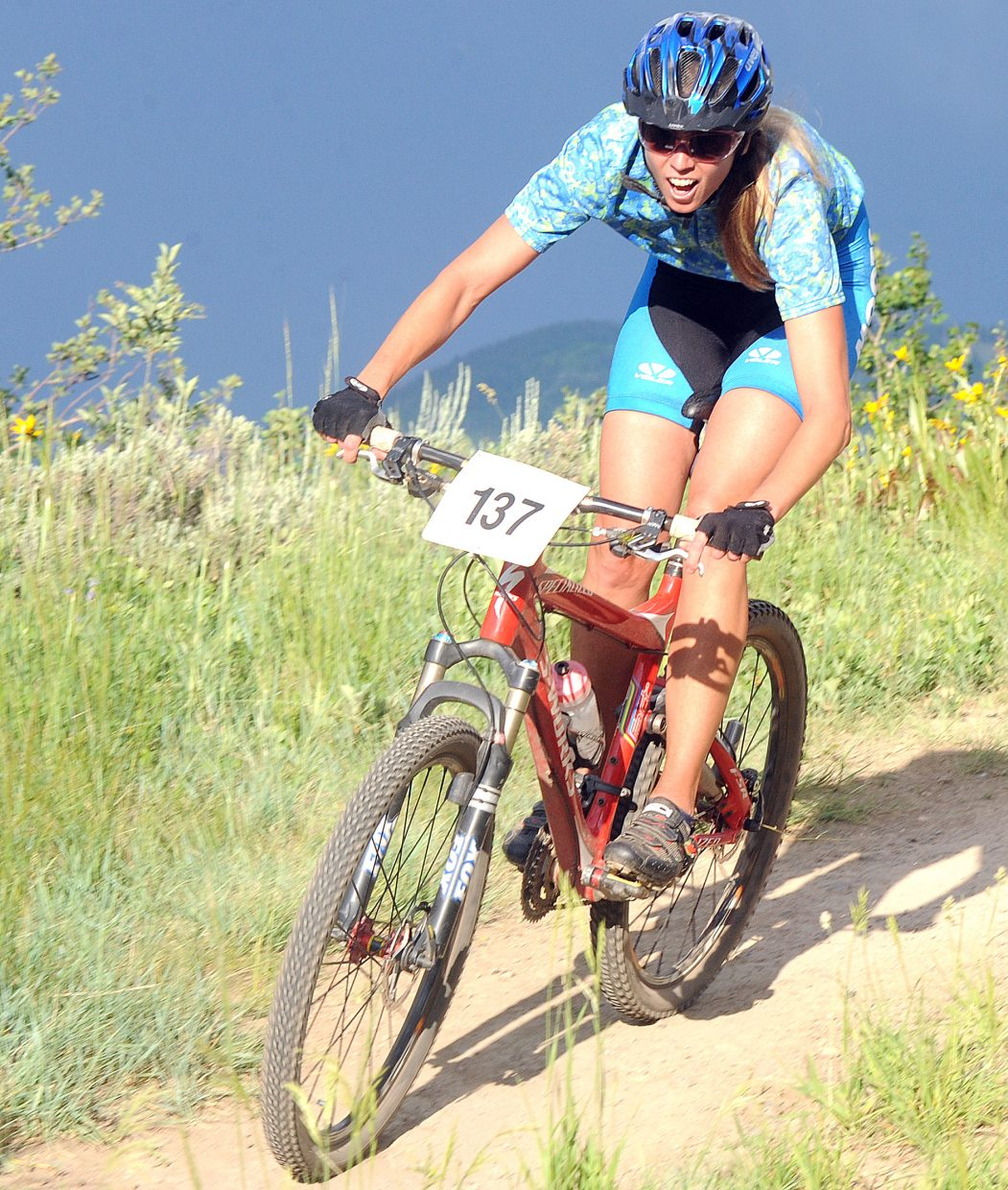 Jennifer Kerr rides Wednesday in the Town Challenge race in Steamboat Springs.