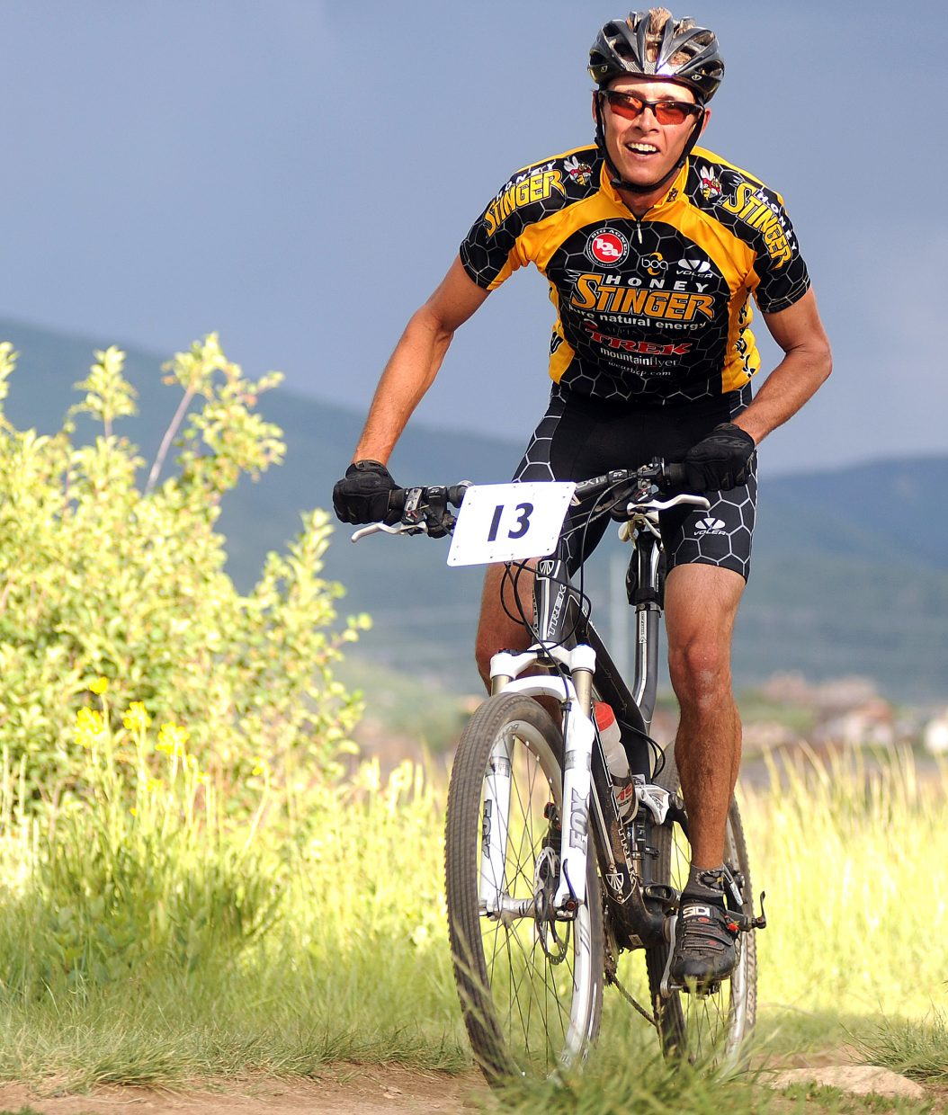 Peter Kalmes rides toward the finish line Wednesday in the Town Challenge race on Emerald Mountain. Kalmes won the race.