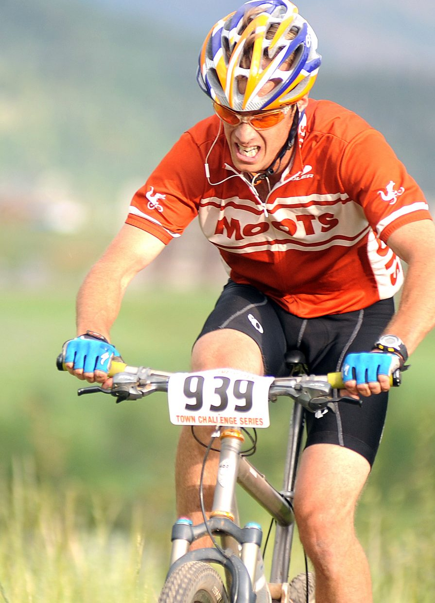 Billy Vanness rides Wednesday in the Town Challenge Mountain Bike Race Series event in Steamboat Springs.