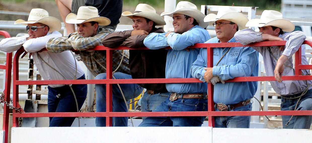 A line of cowboys wait for their turn during Sunday's ranch rodeo in Steamboat Springs.