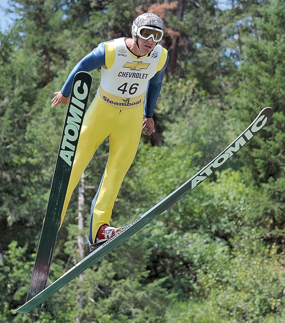 Five-time Olympian and hometown favorite Todd Lodwick takes flight Tuesday at Howelsen Hill during the Fourth of July Ski Jumping Extravaganza.