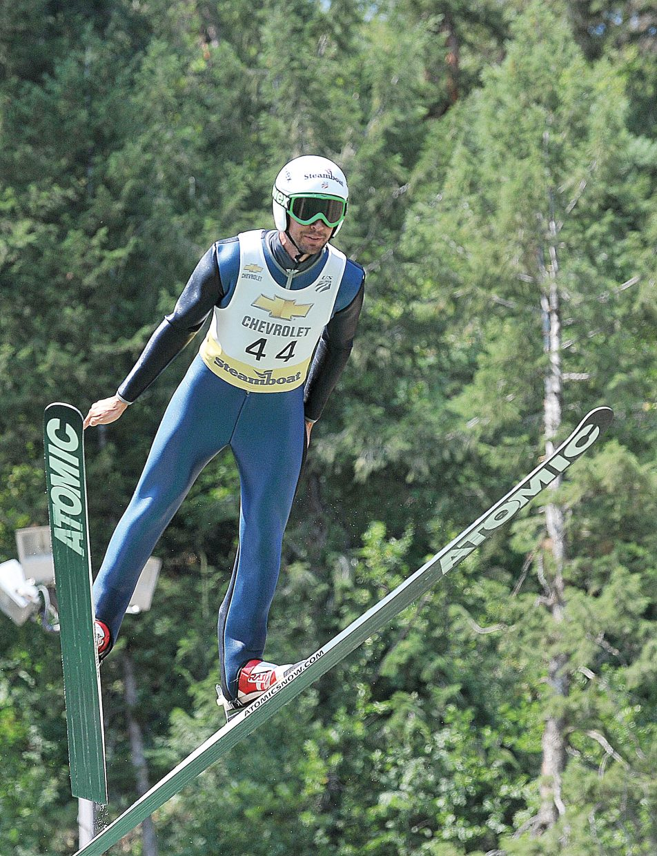 Olympian and hometown favorite Johnny Spillane takes flight in 2012 at Howelsen Hill during the Fourth of July Ski Jumping Extravaganza.