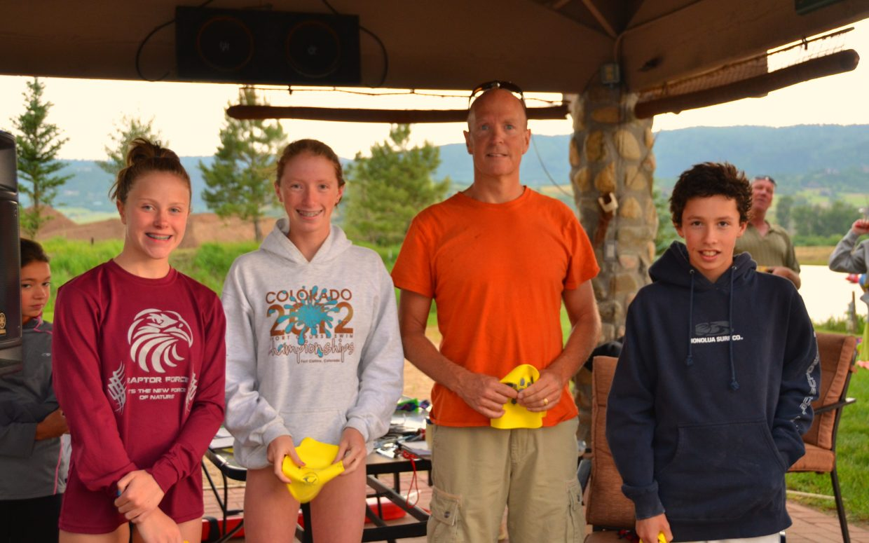 Forty-three people competed in the first of the Bald Eagle Lake Open Water Swim Series on Monday. The mile winners were Steamboat Springs residents Samantha Terranova, center left, in at 19 minutes and 56 seconds, and Scott Weir, center right, at 20:15. The half-mile winners were Seana Harker, of Longmont, in at 11:36, and Steamboat's Tyler Terranova, right, at 12:27. The series continues every Monday through July. Races begin at 6 p.m. Single-race cost is $25 for advance registration or $30 on the day of. Swimmers also can register for four races for $90.
