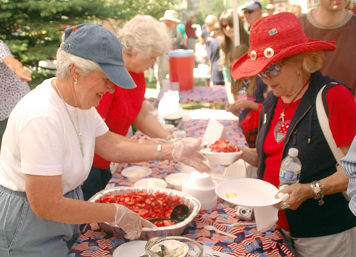 Strawberry Festival at the United Methodist Church of Steamboat Springs, 11 a.m.: Ice cream sundaes for $3, cones and lemonade for $1. Proceeds benefit local charities. 736 Oak St. (Photo: Kitty Cottingham dishes up strawberry sundaes in 2009.)