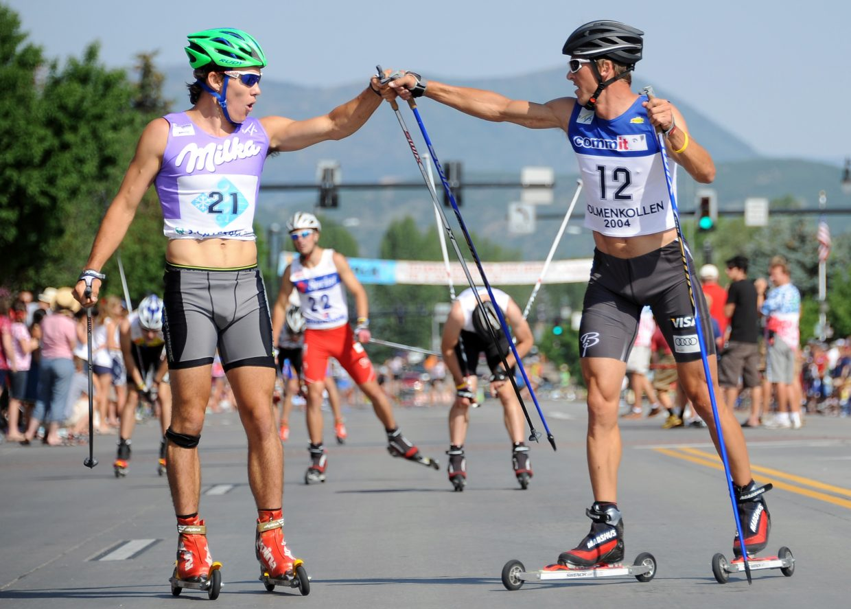 Nordic combined roller-ski race on Ninth Street downtown, 9:15 a.m.: FREE. 1-kilometer run at 9:15 a.m. and 3-kilometer roller-ski race at 9:30 a.m. (Photo: Todd Lodwick, right, wins the roller-ski cross-country race that preceded the 2012 Fourth of July parade in downtown Steamboat Springs.)