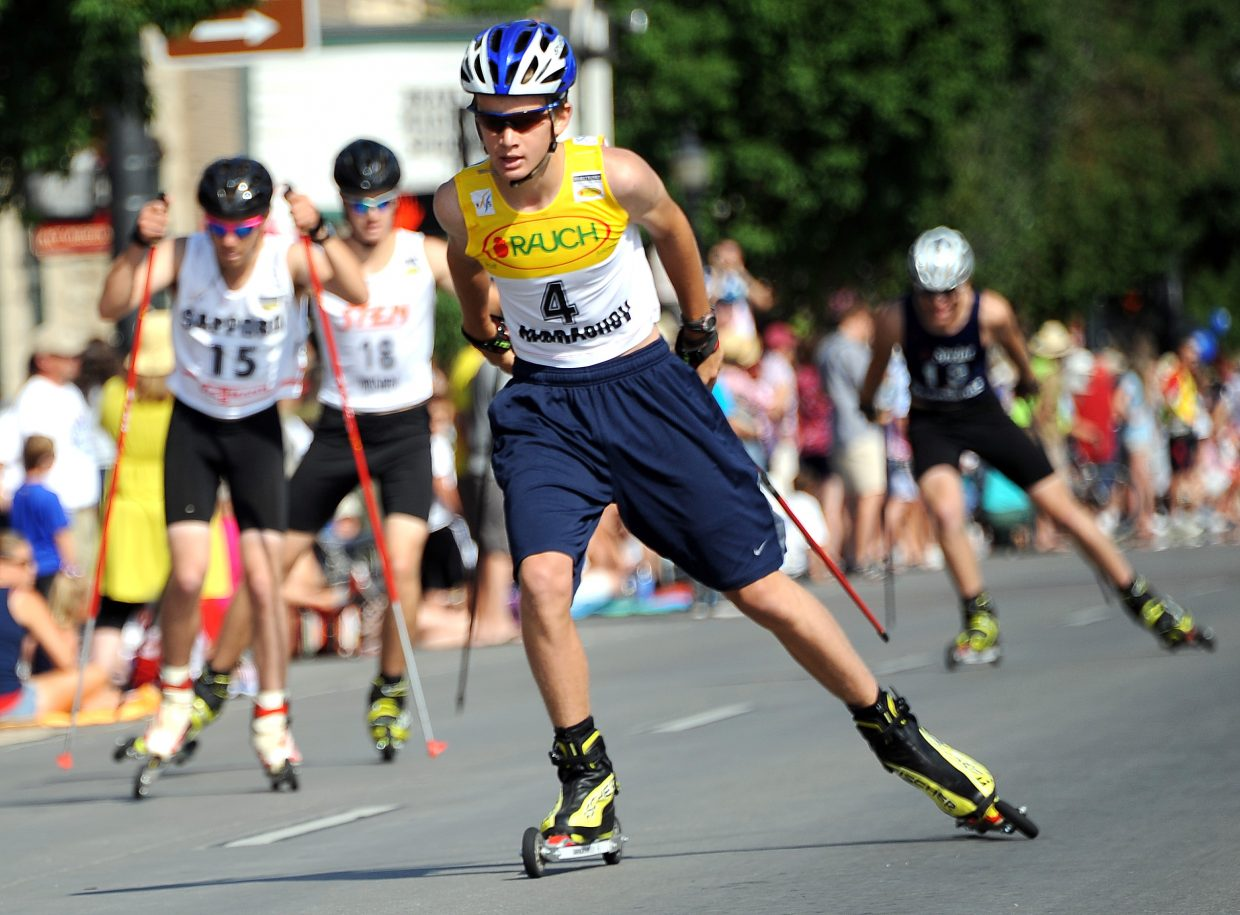 Jasper Good, 4, leads a pack of racers during Wednesday's cross-country roller ski race in downtown Steamboat Springs.