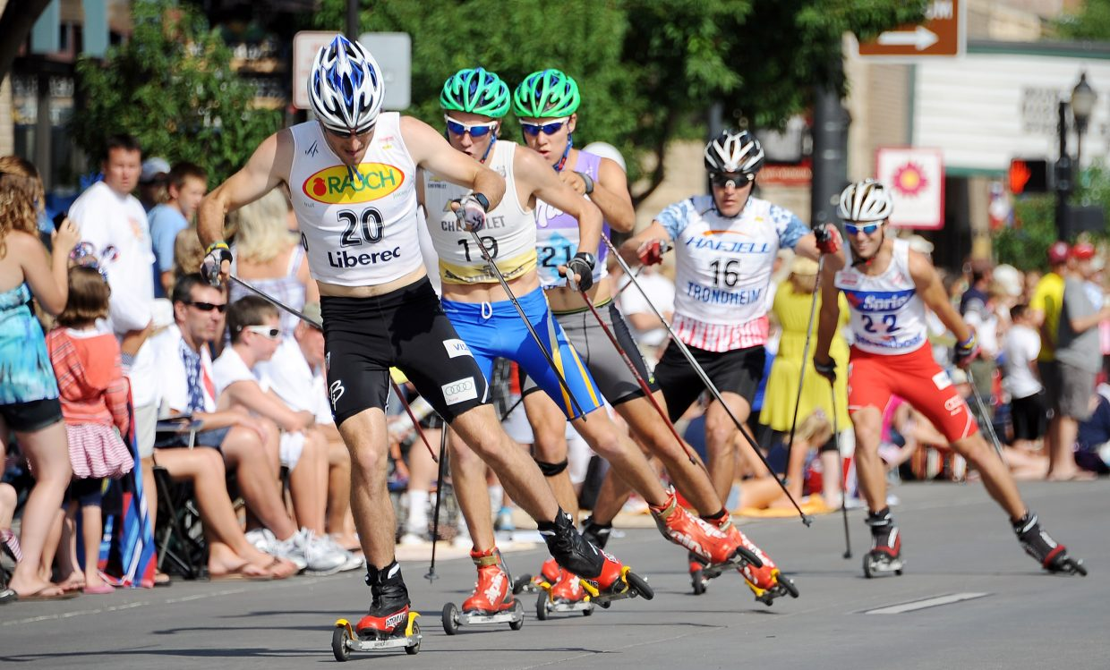 U.S. Nordic combined skier and Steamboat Springs Olympian Taylor Fletcher leads a pack of skiers Wednesday in the roller ski race in downtown Steamboat.
