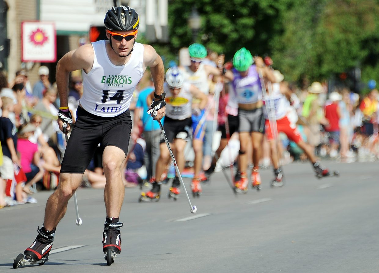 U.S. Nordic combined ski team member and World Cup champion Bryan Fletcher skis Wednesday in the roller ski race in downtown Steamboat Springs.