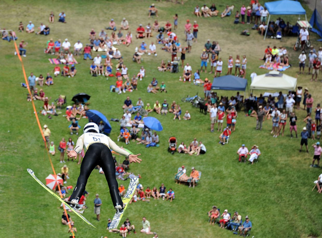 Ben Berend jumps Thursday in the Ski Jumping Extravaganza in Steamboat Springs.