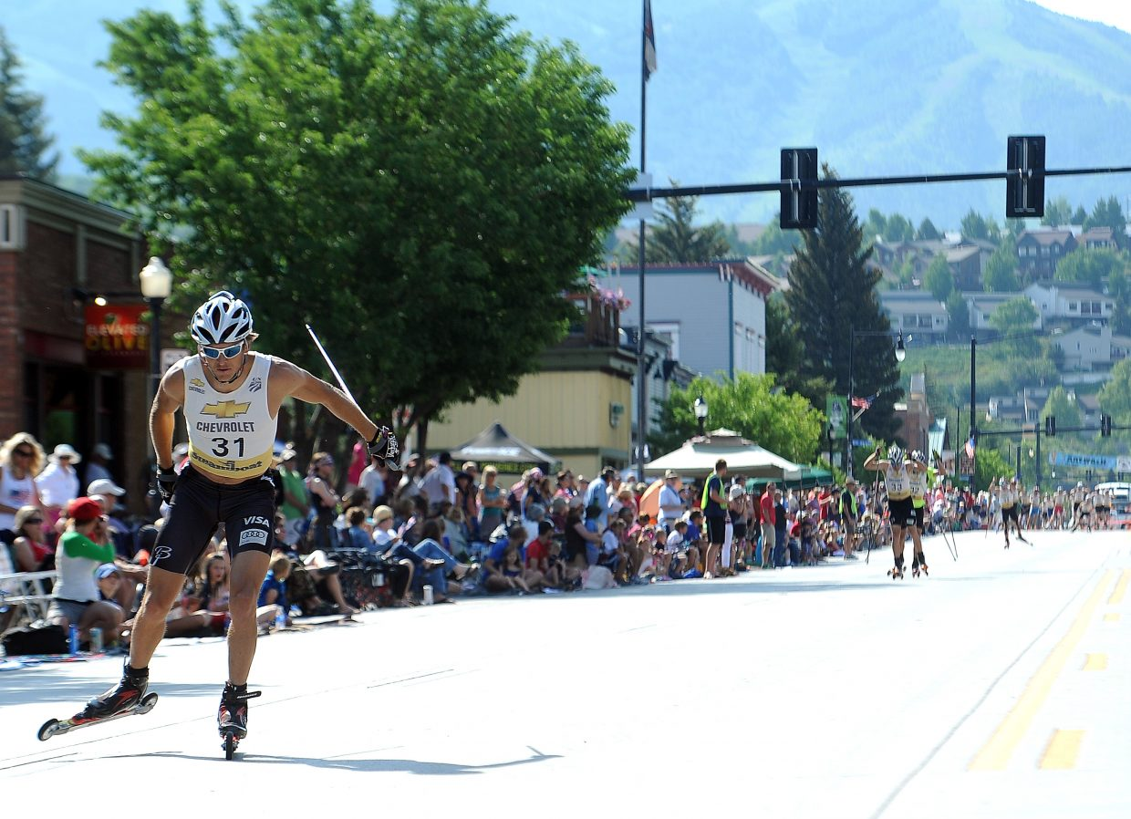 Todd Lodwick cruises well in front of the field Thursday during the annual Ski Jumping Extravaganza roller-ski event in downtown Steamboat springs