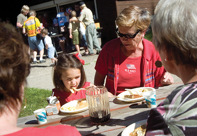 Pancake breakfast at Little Toots Park, 7 to 10 a.m.: Annual all-you-can-eat pancake breakfast is hosted by the Steamboat Springs Lions Club. Proceeds stay local and fund projects such as scholarships and optical care. 12th and Yampa streets. (Photo: Emily Armstrong, 6, devours a pile of pancakes with her grandmother, Nancy Palvino, right, during the 2007 Fourth of July pancake breakfast.)