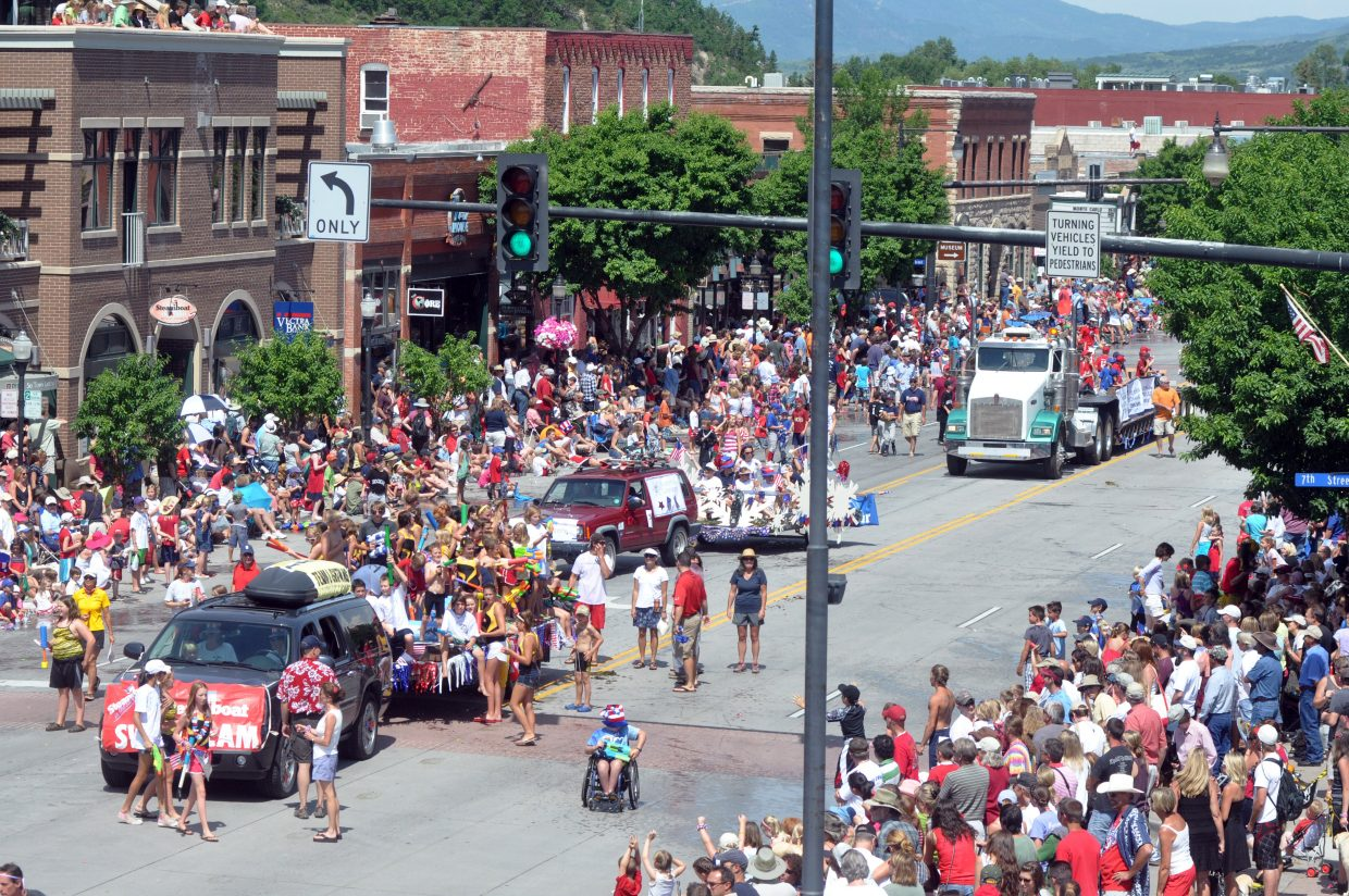 Steamboat's Fourth of July parade proceeds along Lincoln Avenue. The parade attracts thousands of spectators.