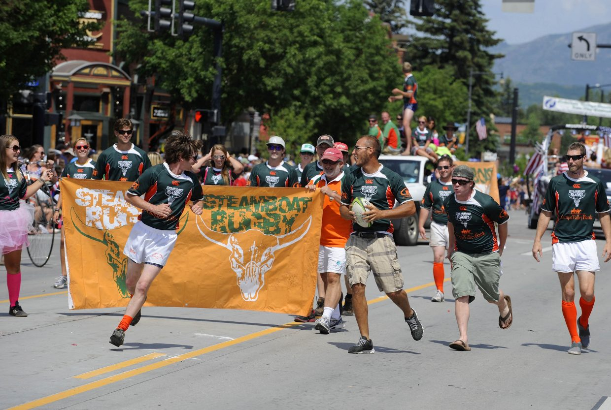 Steamboat Rugby Club members participate in the July 4 parade on Lincoln Avenue.