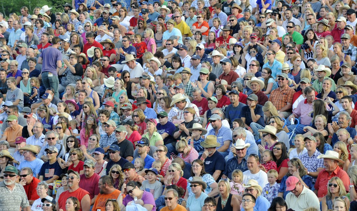 The stands were packed during the Fourth of July rodeo.