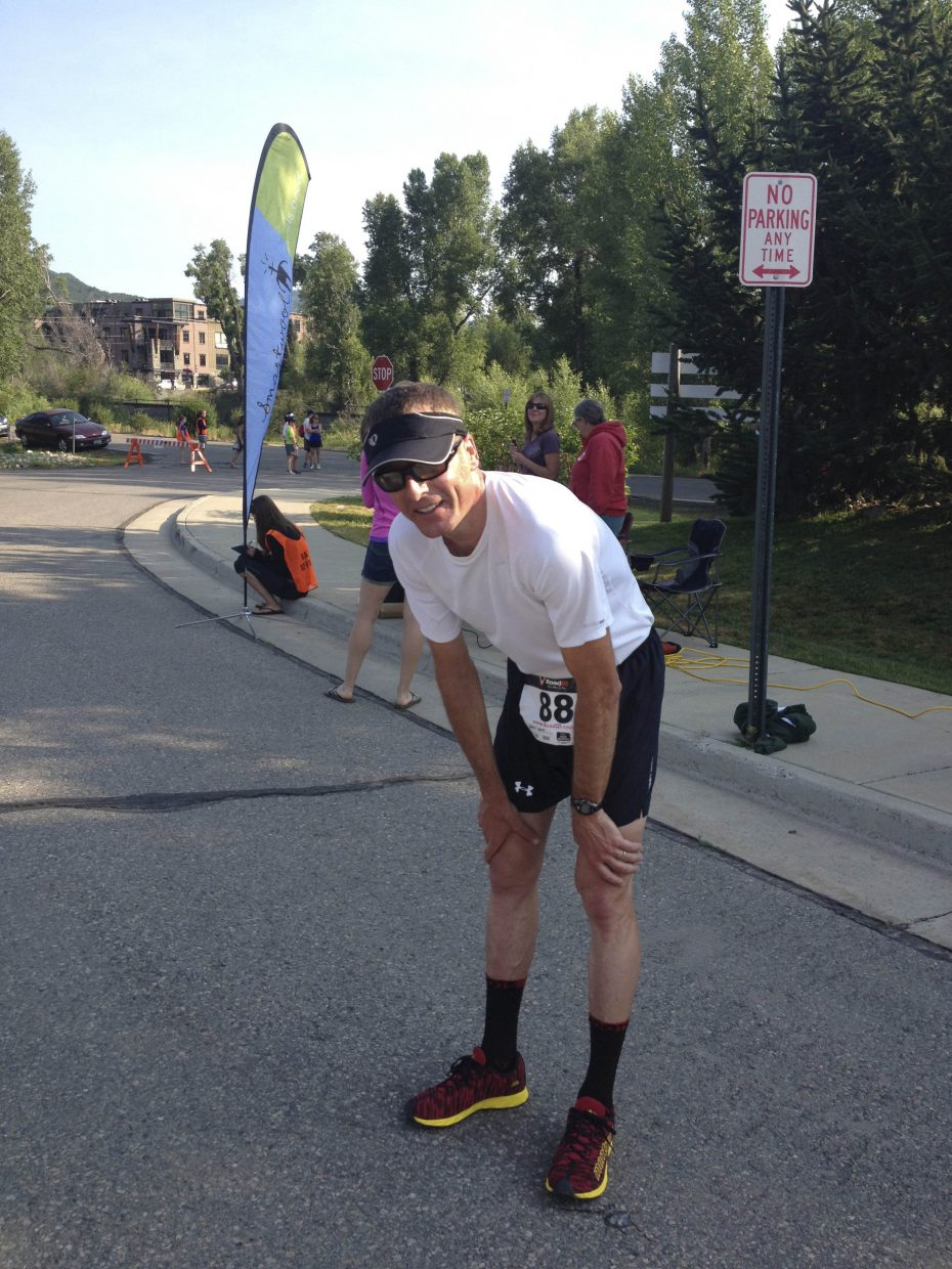 Steamboat Springs resident Glen Light recovers after coming in second in Saturday's 10-kilometer Mountain Madness race.