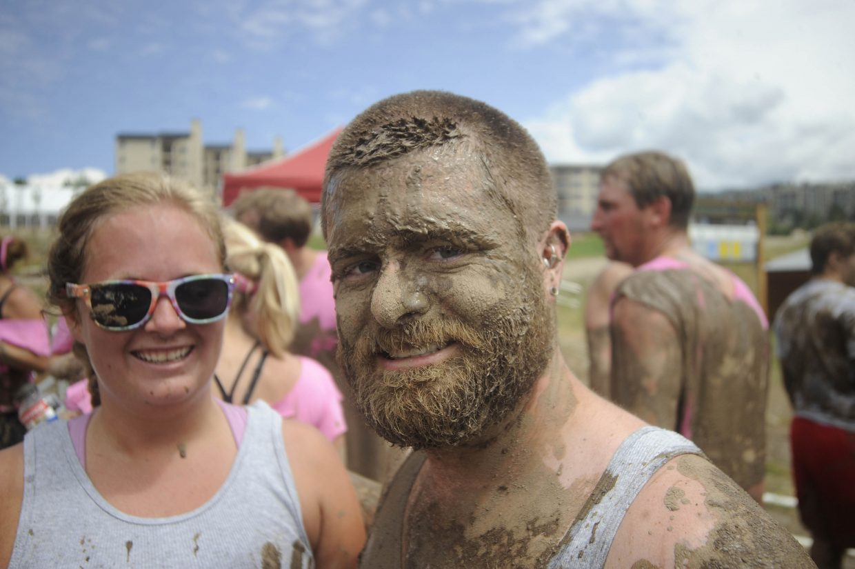 Jon Chippendale caked in mud after the Steamboat Mad Mud Run on Saturday at Steamboat Ski Area.