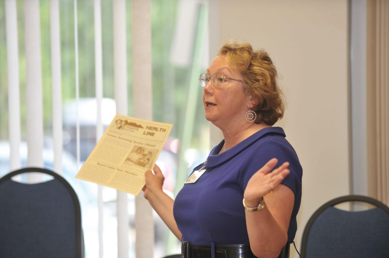 Christine McKelvie talks about one of her first publications during her retirement celebration Monday at Yampa Valley Medical Center. McKelvie is retiring after 30 years with the hospital in Steamboat Springs.